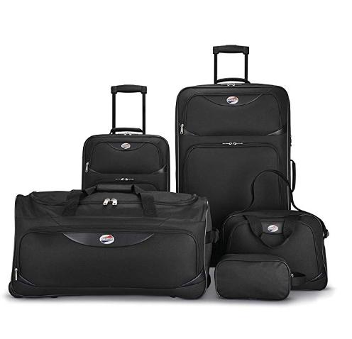Amazon: American Tourister 5-Piece Softside Luggage Set, Black – $49.99