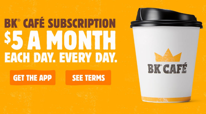 Burger King Daily Coffee for $5/month Deal