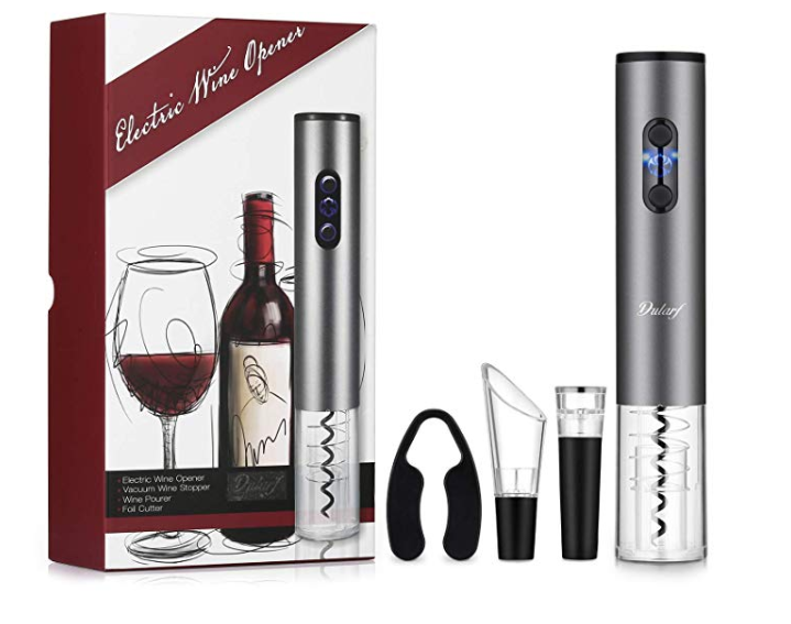 Amazon: DULARF Automatic Electric Wine Bottle Opener 4 Set Cordless Wine Corkscrew Bottle Opener Foil Cutter – $9.87