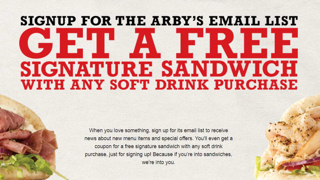Free Arby's Sandwich with any drink purchase