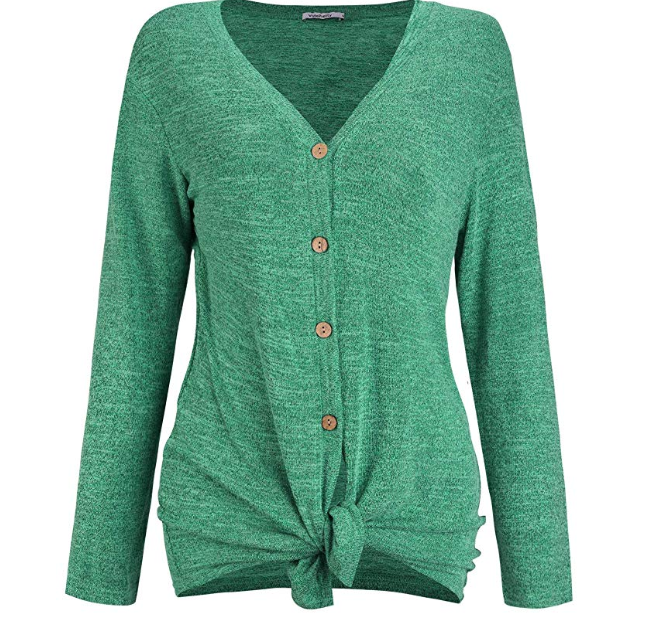 Amazon: VOTEPRETTY Women's V-Neck Long Sleeves Button Down Tie Front – $4.19