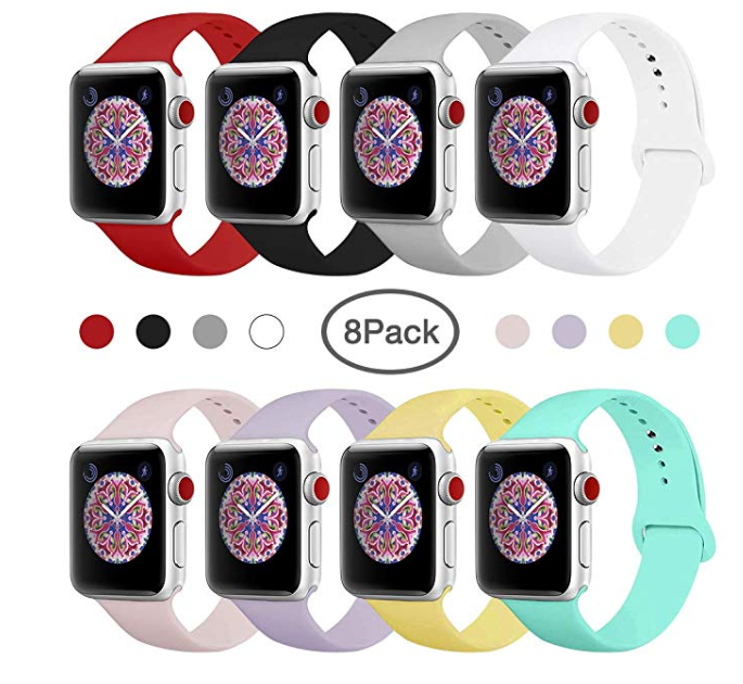 Amazon: BMBEAR Sport Bands Compatible with Apple Watch 38mm 40mm 42mm 44mm Soft Silicone Band Replacement iWatch Strap for Apple Watch Series 4 Series 3 Series 2 Series 1 S/M M/L – $10.15