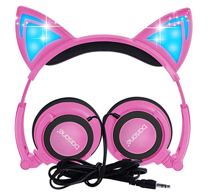 Amazon: Cat Ear Headphones,barsone Kids Headphones Wired Foldable On Ear Headsets with LED Glowing Light 3.5mm Audio Jack Headset for Children (Pink) – $5.25