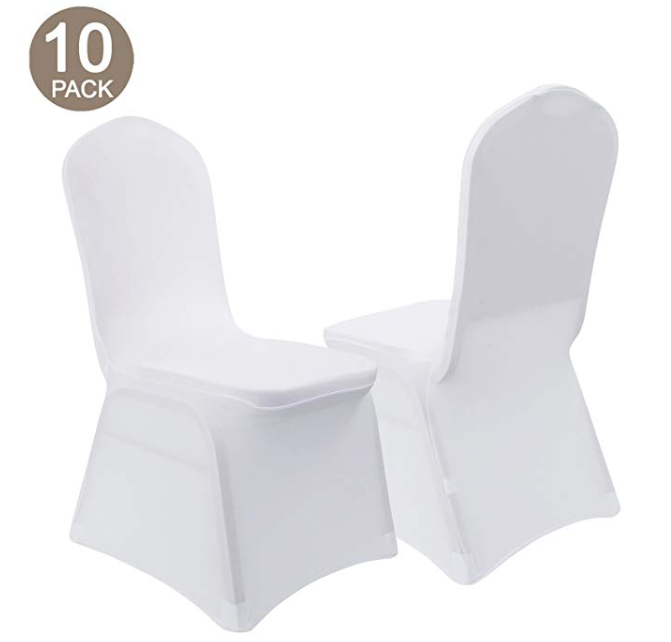 Amazon: VEEYOO Set of 10 Universal Polyester/Spandex Fitted Stretch Chair Cover for Wedding Party Banquet Dining Room Washable Easy Care, White, Flat Front – $18.59