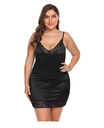 Amazon: Women Sexy Pajamas Spaghetti Strap Lace Patchwork Large Size Nightdress – $6.49