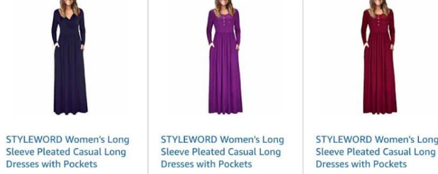 Amazon: STYLEWORD Women's Long Sleeve Pleated Casual Long Dresses with Pockets – $10