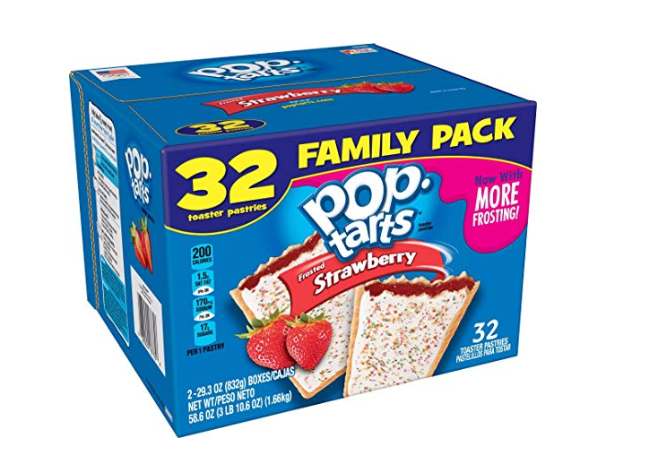 Amazon: Pop-Tarts Breakfast Toaster Pastries, Frosted Strawberry Flavored, Family Pack, 58.6 oz (32 Count) – $3.99