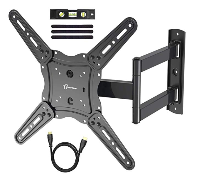 Amazon: TV Wall Mount Bracket fits to Most 26-55 inch LED,LCD,OLED Flat Panel TVs, Tilt Full Motion Swivel Articulating Arms, TV Bracket VESA 400X400, 77lbs Loading with HDMI Cable, Cable Ties EVERVIEW – $9.49