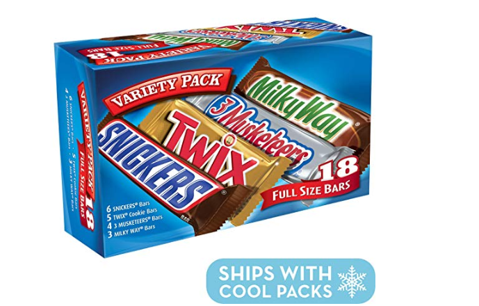Amazon: SNICKERS, TWIX, 3 MUSKETEERS & MILKY WAY Full Size Bars Variety Mix, 18-Count Box – $8.88