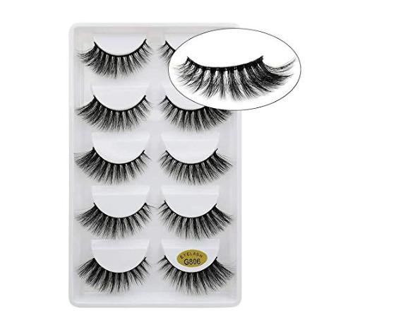 Amazon: Lakkio 5 Pairs Pure Mink Hair Eyelashes 3D Eyelashes Extension Natural Dense False Eyelashes Handmade Lashes Set – $4.99