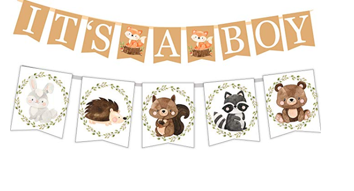Amazon: Woodland Creatures ITS A BOY Banner for Baby Shower + Fox, Raccoon, Rabbit, Bear, Squirrel and Porcupine/Animals Themed Decorations – $1.80