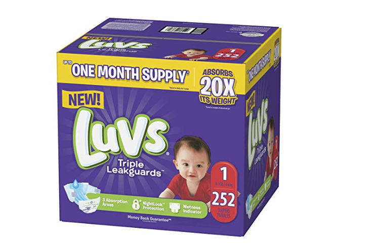 Amazon: Luvs Ultra Leakguards Disposable Baby Diapers Newborn Size 1, 252Count, ONE MONTH SUPPLY