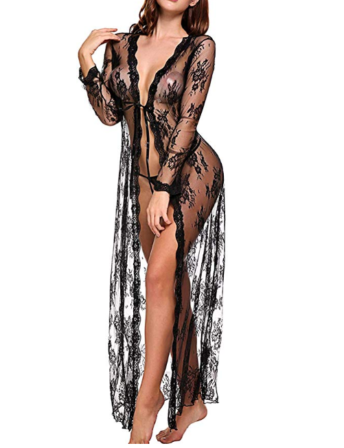 Amazon: Long Lingerie Robe for Women See Through Dress Lace Gown Open Sheer Mesh Kimono – $6.65