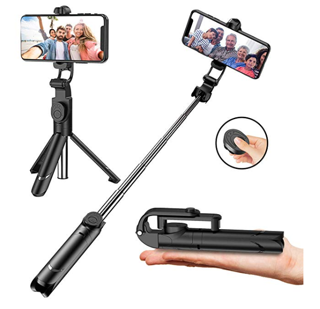 Amazon: Selfie Stick with Tripod Stand and Remote Control, Extendable 7.3-27 inch Selfie Stick for iPhone X/iPhone 8/8Plus/iPhone 7/7Plus/Galaxy Note8/S8/Plus/S9/plus,Huawei,More,360° Clamp/225° Neck Rotation -$5.88