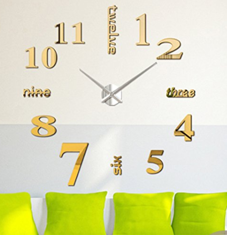 Amazon: OuYou Fashion 3D Frameless Large Wall Clock Stickers-Personality DIY Circular Large Wall Clock Watch Living Room Bedroom Home Decoration(Gold) – $6.98