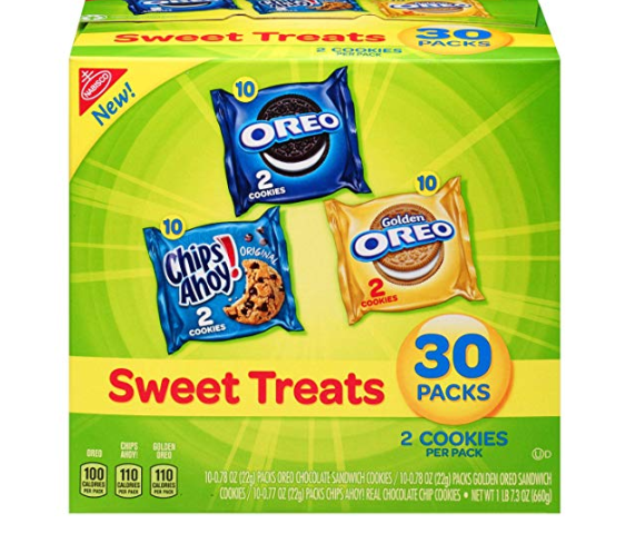 Amazon: Nabisco Cookies Sweet Treats Variety Pack Cookies – with Oreo, Chips Ahoy, & Golden Oreo – 30 Snack Packs – $4.74