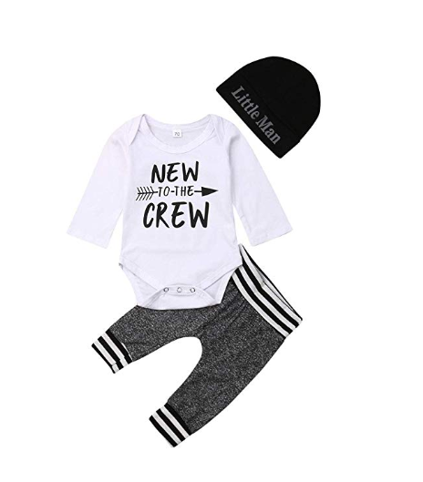 Amazon: Newborn Baby Boy Clothes to The Crew Letter Print Romper+Long Pants+Hat 3PCS Outfits Set – $7.17