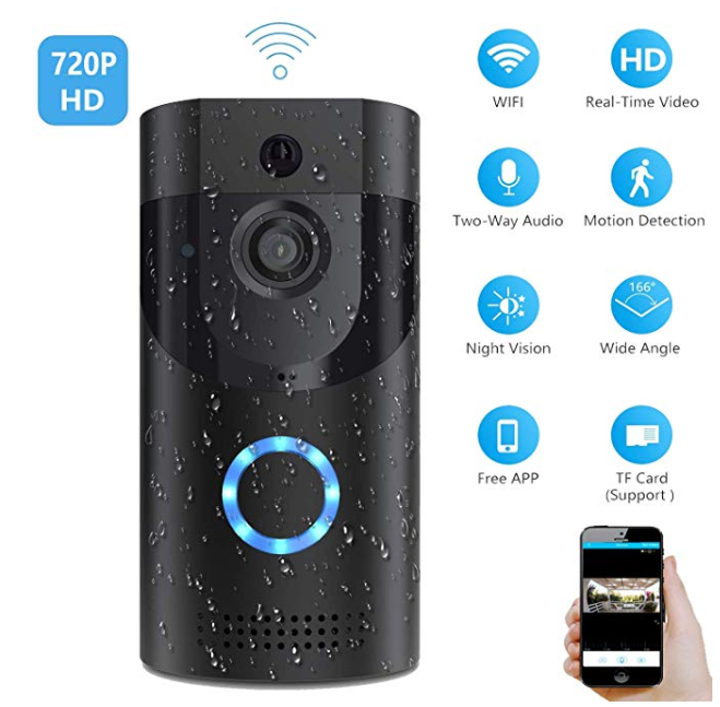 Amazon: Smart Video Doorbell, Wonbo 720P HD WiFi Security Camera, Real-time HD Monitoring, Waterproof, Two-Way Communication and Remote App Control (Black) – $34.99