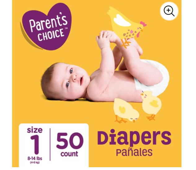 Walmart: Parent's Choice Diapers, Size 1, 50 Diapers- $4.42
