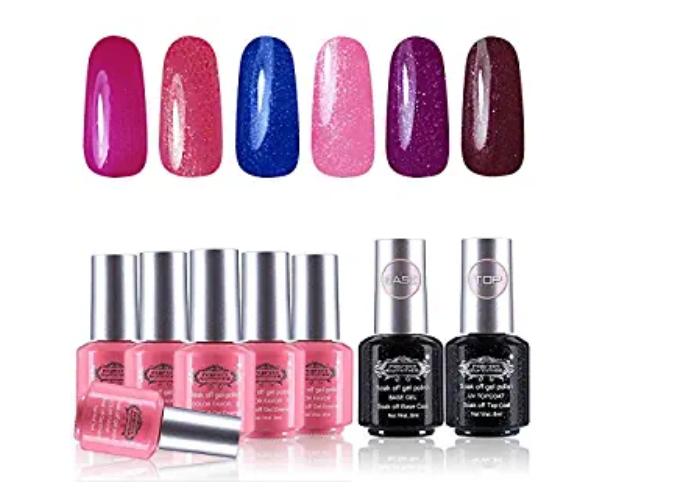 Amazon: Perfect Summer Gel Nail Polish 6PCS Glitter Colors Gel Nail Varnish with Top Coat Base Coat – $6.59