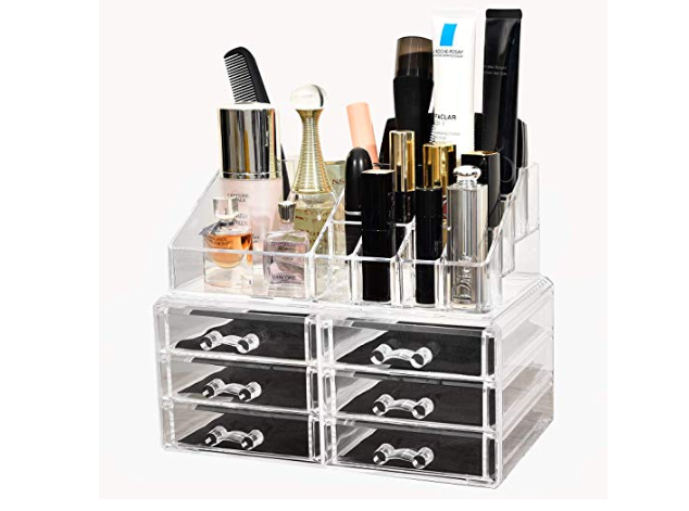 Amazon: NXhome Makeup organizer and storage,Cosmetic Display Cases for Brush,Lipstick,Creams Lotions,Clear Acrglic display stand with 4 Drawer – $9.99