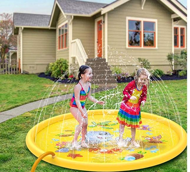 """Amazon: JISUSU Kids Sprinkler Play Mat-Inflatable Water Toys-Splash Pad 68""""Sprinkler – $9.99"""