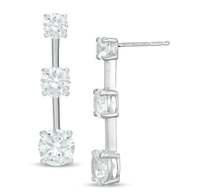 Zales: Lab-Created White Sapphire Three Stone Drop Earrings in Sterling Silver – $19.99