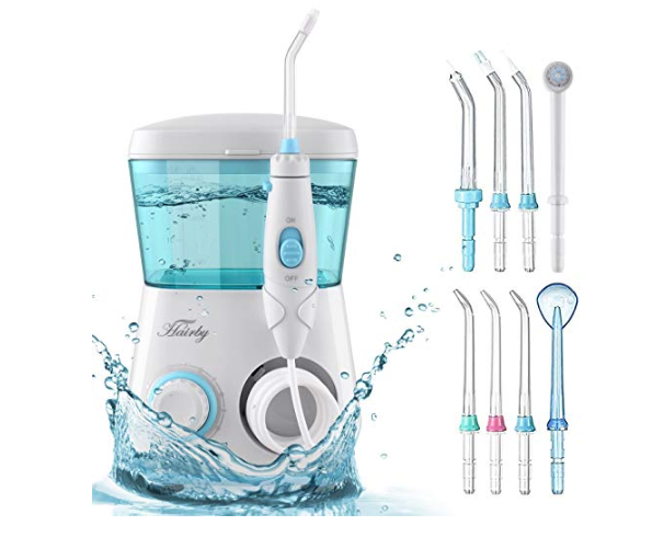 Amazon: HAIRBY Water Flosser, Dental Oral Irrigator Waterproof Leakproof 600 ML Capacity with 7 Interchangeable Water Jet Tips – $14.39
