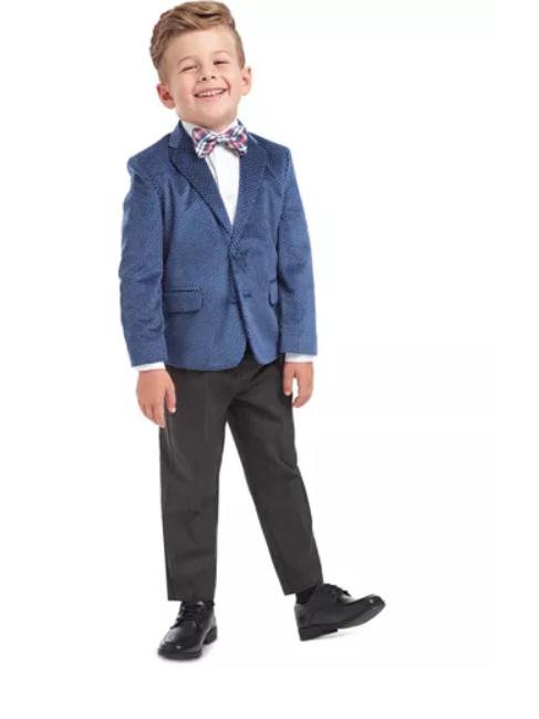 Macy's: Nautica Little Boys Regular-Fit 4-Pc. Polka Dot Velvet Suit Set – $35.80