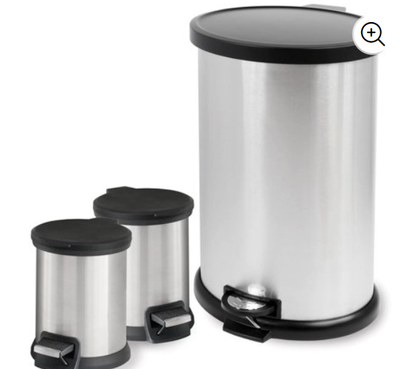 Walmart: Mainstays 3-Piece Stainless Steel 1.3 Gal and 8 Gal Waste Can Combo – $19.88