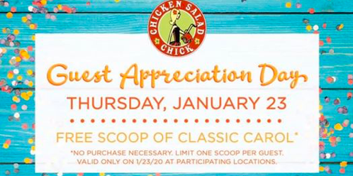 Free Scoop of Classic Carol from Chicken Salad Chick