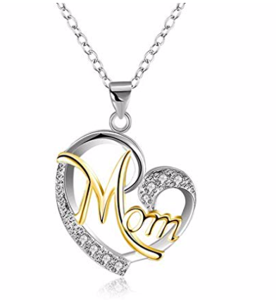 Amazon: Heart Necklace, Morenitor Silver Plated Letter Mom Love Pendant – $5.86