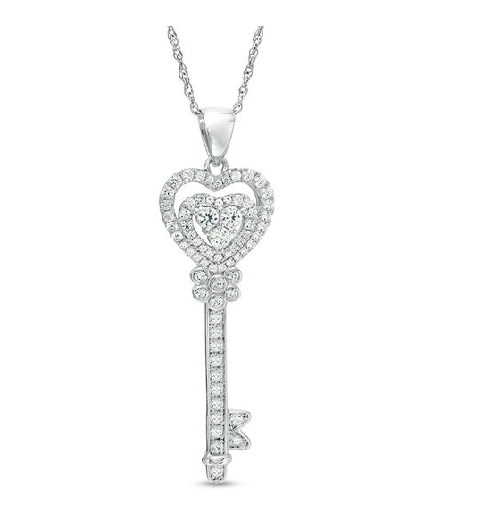Zale's:Lab-Created White Sapphire Heart-Top Key Pendant – $19.99