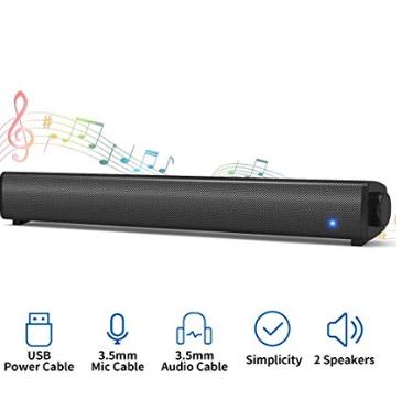 Amazon: Mini Soundbar Speaker – $15.49