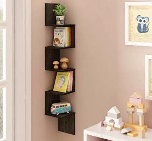 Amazon: FURINNO 5 Tier Wall Mount Floating Corner Square Shelf, Espresso – $16.48