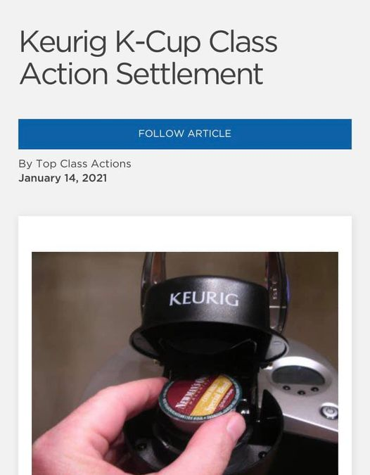 Keurig K-Cup Class Action Settlement