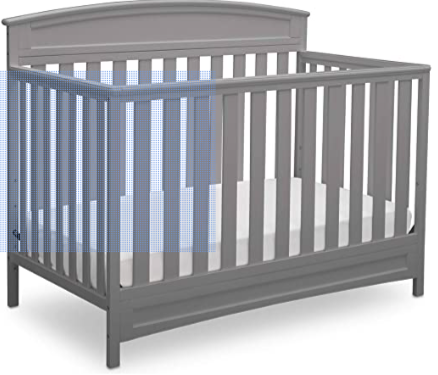Delta Children Sutton 4-in-1 Convertible Baby Crib, Grey