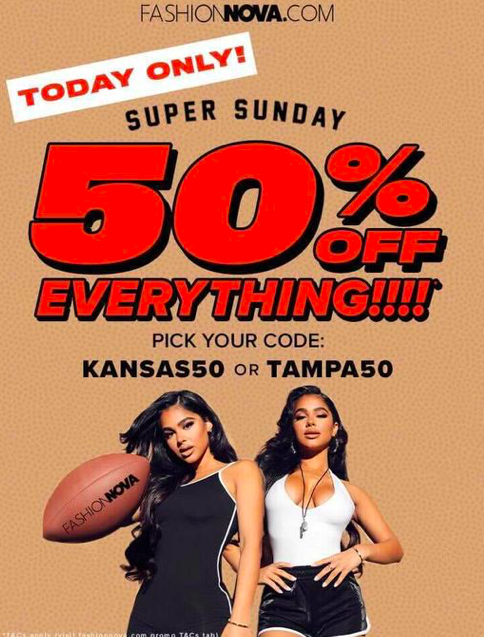 Fashion Nova: 50% Off Everything Sale W/Code Kansas50 or Tampa50